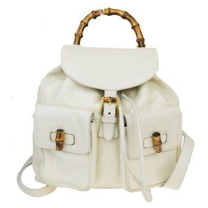 Vintage Gucci White Leather Bamboo Handle Backpack